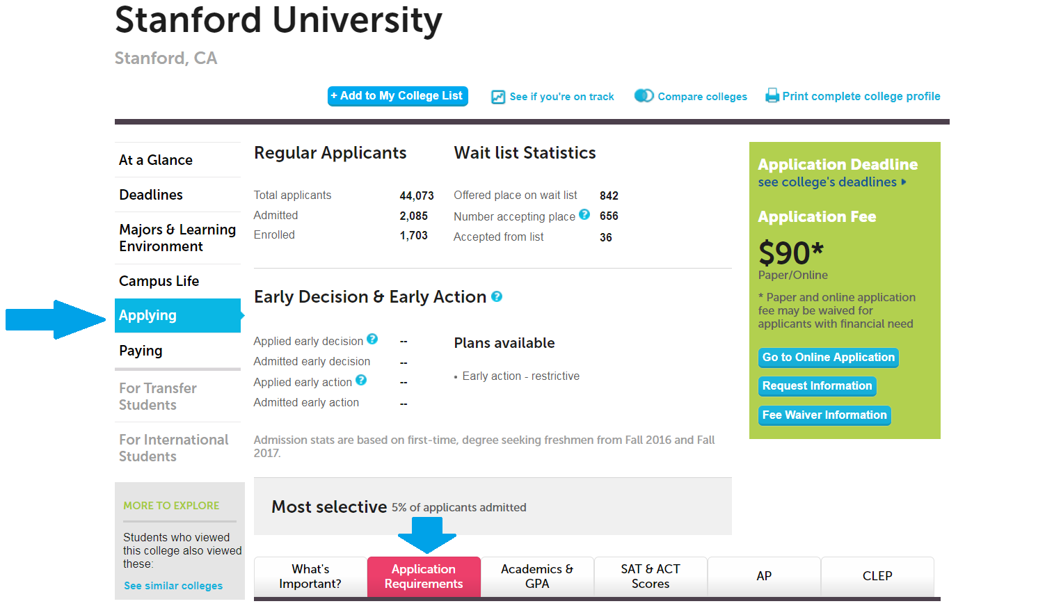 test policy page for Standford University